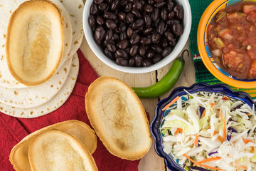 Ingredients for taco boats with black beans and vegetables.