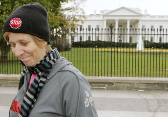 Anti-war activist Sheehan demonstrates in front of the White House in Washington