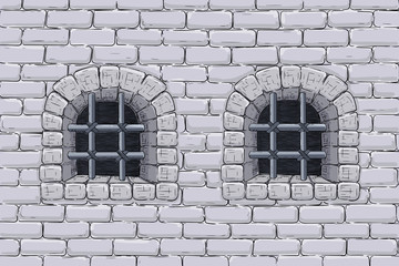 Old brick wall with barred windows. Hand drawn sketch