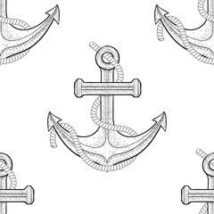 Anchor with rope. Seamless pattern. Hand drawn outline sketch