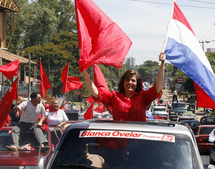 Paraguayan presidential candidate for the ruling Colorado Party Ovelar rides in a campaign caravan through the streets of Asuncion