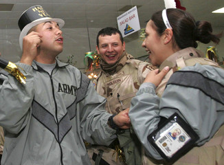 U.S. soldiers celebrate the New Year in Baghdad