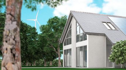 Casa c eco sostenibile con pannelli solari e pala eolica, 3d render