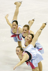 Skaters perform during the opening ceremony of the European Figure Skating Championships in Zagreb