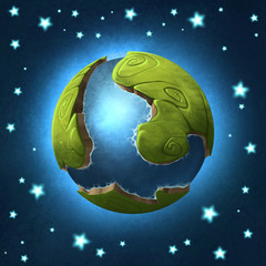 Digital illustration of a tiny little planet with green shores and seas