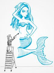 Wandschildering van zeemeermin door jonge kunstenaar
