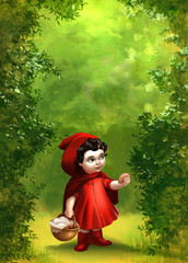 Beautiful hand drawn illustration of a peaceful green forest with a girl in a red hood