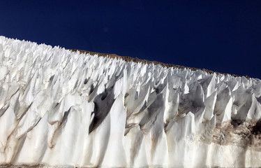 Ice formations are seen on the Andes mountains near Barrick Gold Corp's Veladero gold mine in Argentina's San Juan province