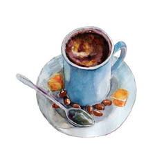 The coffee cup with coffee beans and spoon on white background, watercolor illustration in hand-drawn style.