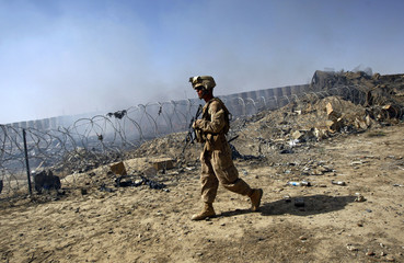 A U.S Marine patrols in the Garmsir district of Helmand province