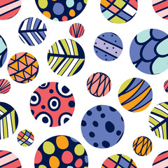 Geometric polka dot. Vector seamless pattern.