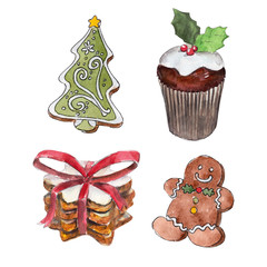The set of christmas cookies isolated on white background, gingerbread, muffin watercolor illustration in hand-drawn style.