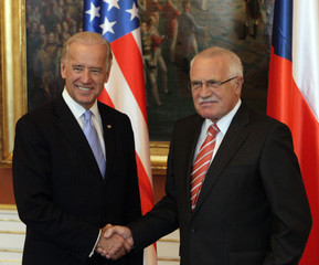 Czech Republic's President Vaclav Klaus welcomes U.S. Vice President Joe Biden at Prague Castle in Prague