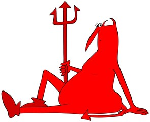 Illustration of a resting red devil sitting on the ground holding his pitchfork.