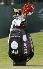 Tiger Woods'  golf bag with logos of his new sponsor is pictured at practice round of CA Championship in Miami