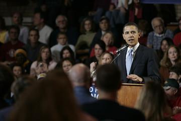 U.S. Democratic Presidential candidate Senator Barack Obama speaks during a campaign stop in Ottumwa