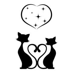 Romantic meeting of cats monochrome illustration.