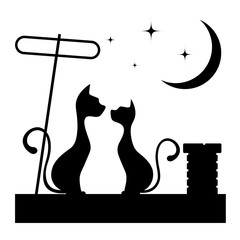 Romantic meeting of cats monochrome illustration.