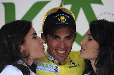 2d9de8960 Spanish rider Contador celebrates his overall lead at the fourth stage of  the Basque Country cycle