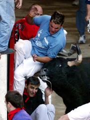 Runner is gored by bull during Pamplona's San Fermin festival.