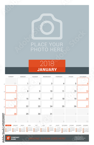 January 2018 Wall Monthly Calendar Planner For 2018 Year Vector