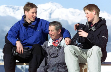 BRITAIN'S PRINCE CHARLES WILLIAM AND HARRY POSE FOR PHOTO IN KLOSTERS.