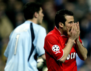 MONACO'S GUILY MISSES SCORING CHANCE AGAINST REAL MADRID DURING CHAMPIONS LEAGUE QUARTERFINAL FIRST ...