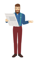 Hipster with newspaper gesturing
