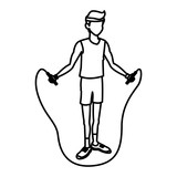 sport man jump rope fitness active draw vector illustration stock