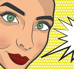 pop art woman with speech bubble icon  over yellow background. colorful design. vector illustration