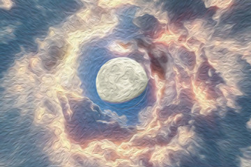 Oil paint space background with abstract moon