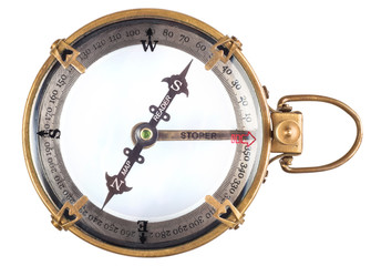 Old compass isolated on white background.