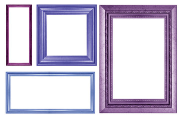 collection of color vintage picture frame, isolated on white