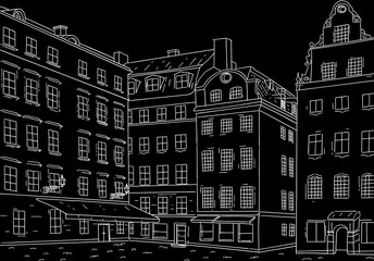 Stockholm Stortorget square. Black outline hand drawn sketch