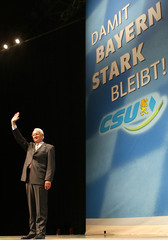 BAVARIAN STATE PREMIER STOIBER WAVES TO DELEGATES DURING CSU ELECTIONCAMPAIGN RALLY IN MUNICH.