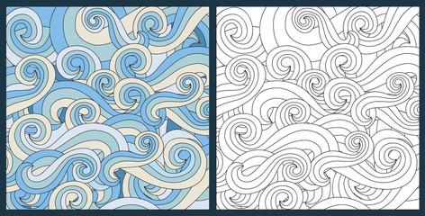 zentangle waves ocean water vector antistress
