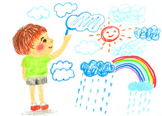 boy drawing cloud sun and rainbow ' oil pastel illustration