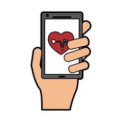 mobile heart rate monitor icon image vector illustration design