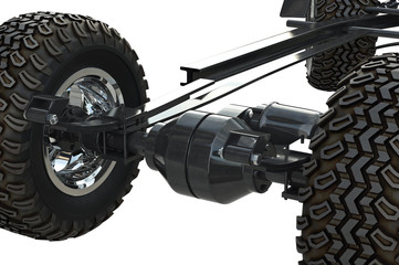 Golf car chassis undercarriage equipment, close view. 3D rendering