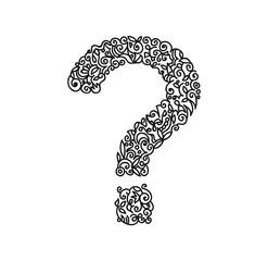 Question mark curls monochrome contour drawing