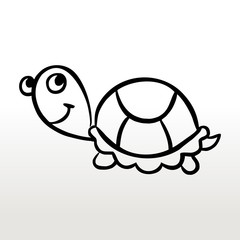 Turtle children's coloring outline drawing black and white monochrome