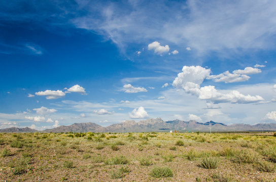 Organ Mountains in Las Cruces, New Mexico with sky