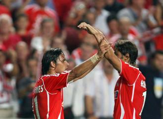 Benfica's Nuno Gomes celebrates his goal with team mate Rui Costa against Austria Vienna