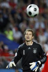 Germany's goal keeper Lehmann reacts during their Euro 2008 soccer match against Austria in Vienna