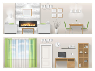 Interior of a bright living room with fireplace and furniture. Detailed vector illustration in a realistic style. Orthogonal projection.