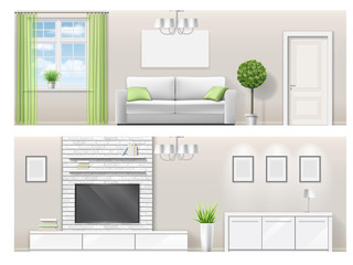 Interior of a bright living room with furniture. Detailed in vector illustration in a realistic style. Orthogonal projection.