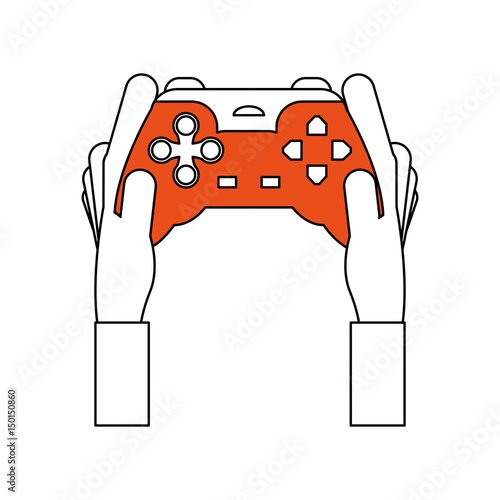 Sketch Color Silhouette Of Hands Holding A Control For Video Games