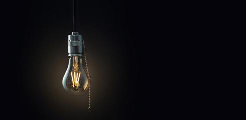 vintage glowing light bulb