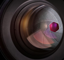 Camera lens. Macro shot.