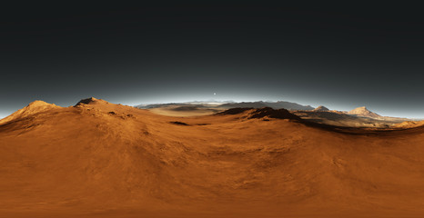 Panorama of Mars sunset, environment HDRI map. Equirectangular projection, spherical panorama. Martian landscape, 3d rendering